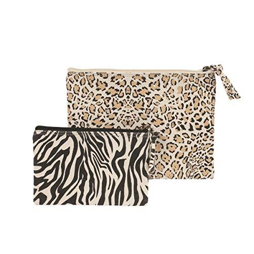 BARBACADO - Juego de 2 estuches de algodón reciclado, estuche de animales salvajes, estuche de cebra, estuche de leopardo, neceser de maquillaje y joyas