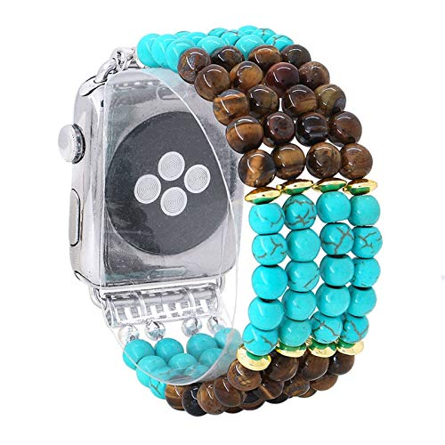 NIORFOA Bands Natural Turquoise Stone Elastic Band For Apple Watch Series 1/2/3 42mm 38mm Bracelet Strap For Iwatch 4/5 40mm 44mm (Band Color : Green and agate, Band Width : 38mm or 40mm)