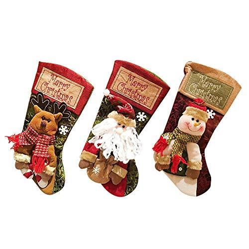 HYCOPROT Calze Natalizie Calza di Natale Babbo Natalizia Sachetto di Caramelle Pupazzo di Nataleper la Decorazione della Famiglia Regalo di Festa Modello di Cartone Animato (Molteplici)