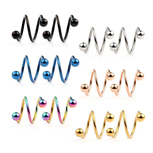 Ruifan 16G Stainless Steel Double Twist Ear Plug Earring Spiral Helix Stud Lip Ring Body Piercing Jewelry 8mm 6Pairs
