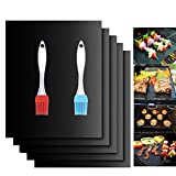 Pynior Grill mat,BBQ Set of 5, Heavy Duty, Reusable, and Easy to Clean Non-Stick Grill Mats with 2 Silicone BBQ Brushes, Compatible with Electric Grill Gas Charcoal BBQ - 15.75 x 13-Inch, Black