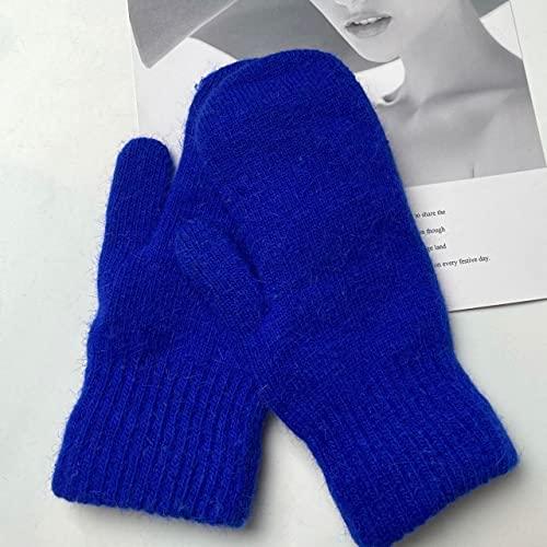 Guantes de Doble Capa para Mujer, versión Coreana de Invierno, de Color sólido, Todos los Dedos,Guantes de Invierno para Mujer, Mitones para niñas-Royal Blue