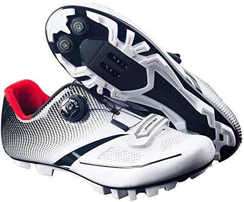 Zapatos de ciclismo, zapatos de ciclismo, antideslizantes, para adultos, para atletismo, atletismo, deportivos, deportivos, profesionales, ligeros, para bicicleta de carretera, blanco, 44