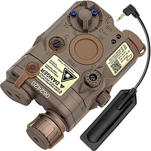 Action Union Airsoft PEQ-15 Style Battery Box IR Laser White LED Flashlight + Red Laser Sight with Upgrade Version IR Lenses for AEG GBB CQB (TAN)