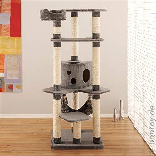 bontoy Kratzbaum MAX I 170cm I grau I mit extra Dicker Bodenplatte für mehr Stabilität I Katzenkratzbaum zum toben und entspannen