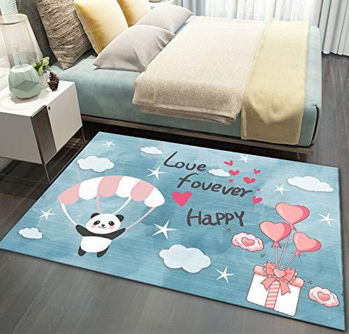 Cartoon Niedlichen Panda Teppich, Blau Polyester Rosa Ballon Weiße Wolke Kinder Spielzeugmatte, Schlafzimmer Arbeitszimmer Rutschfesten Teppich 140cmx200cm