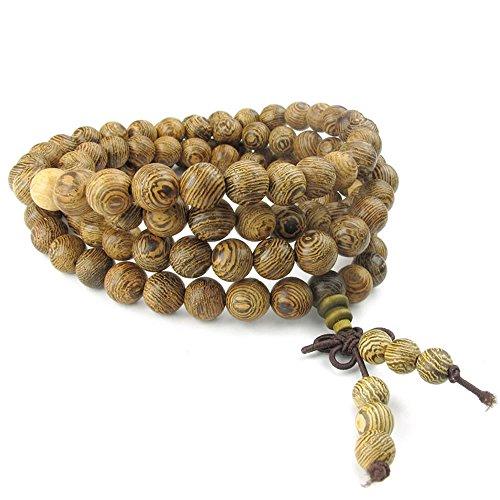 KONOV Mens Womens Wood Bracelet, 8mm Tibetan Beads Buddhist Prayer Mala Necklace, Yellow Brown