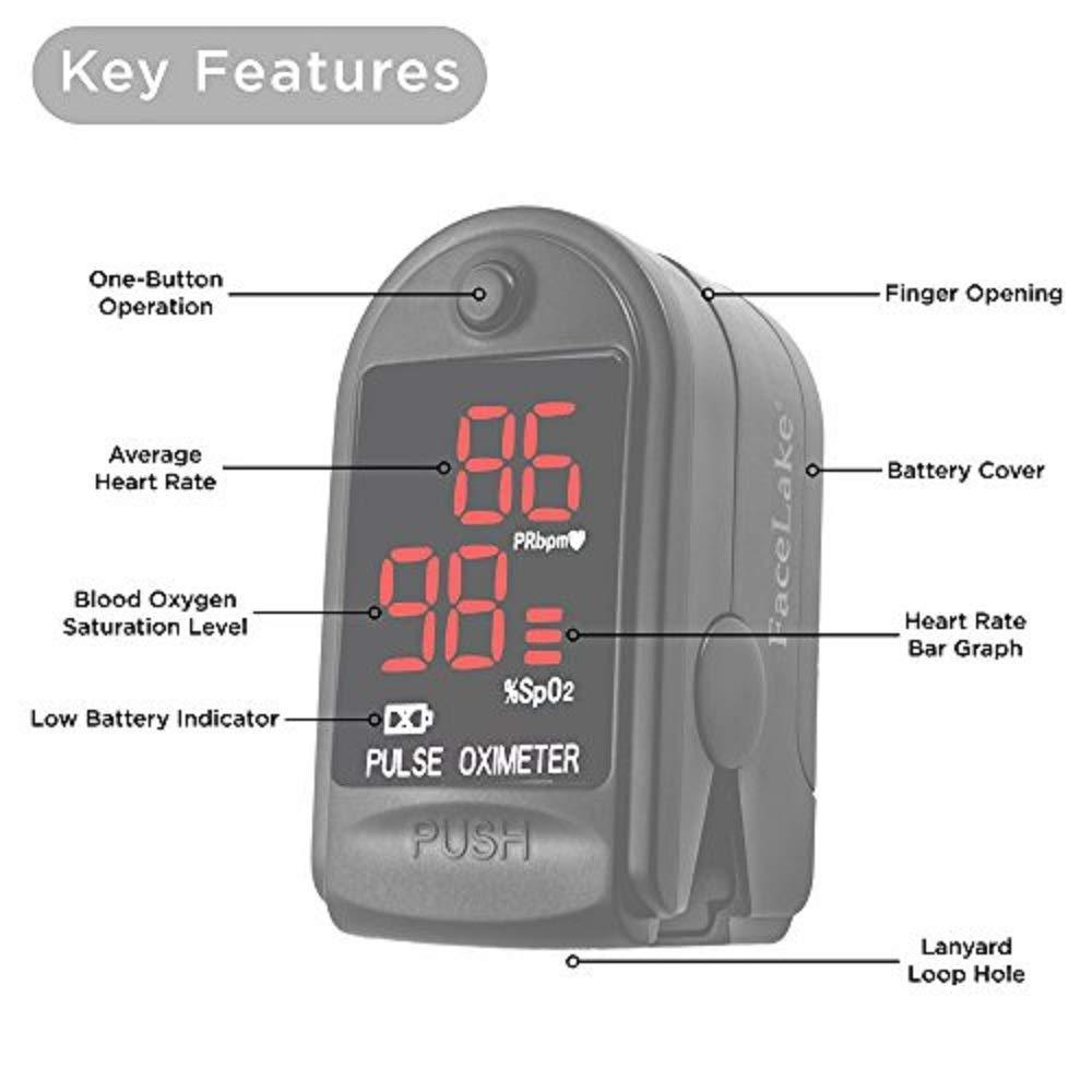 FaceLake ® FL400 Pulse Oximeter with Carrying Case, Batteries, Neck/Wrist Cord - Black