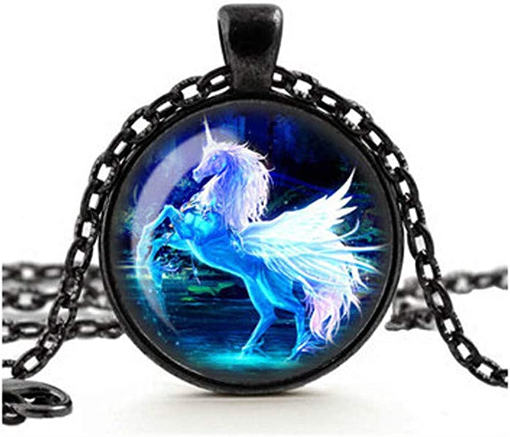 Blue Unicorn Necklace, Moonlit Unicorn Pendant, Glass Cameo Cabochon Tile Necklace Jewellery, Mystical Jewelry, Handmade Gift for Her