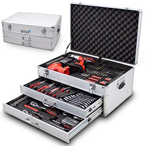BITUXX® 206 tlg Werkzeugkiste komplett Werkzeugkoffer bestückt Werkzeugkasten gefüllt Schubladen inklusive Akkuschrauber Ratschenringschlüssel Ratschenkasten Knarrenkasten Steckschlüssel Nüsse - 6