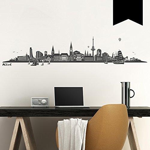 WANDKINGS Wandtattoo Skyline Kiel 300 x 60 cm - Schwarz - 35 Farben zur Wahl