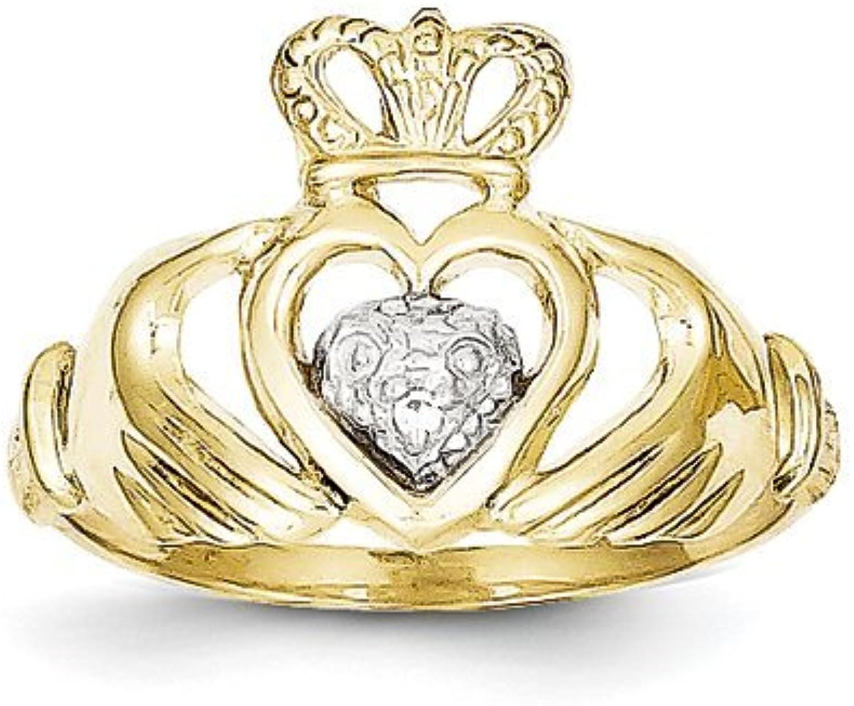 Celtic 10k & Rhodium Claddagh Ring