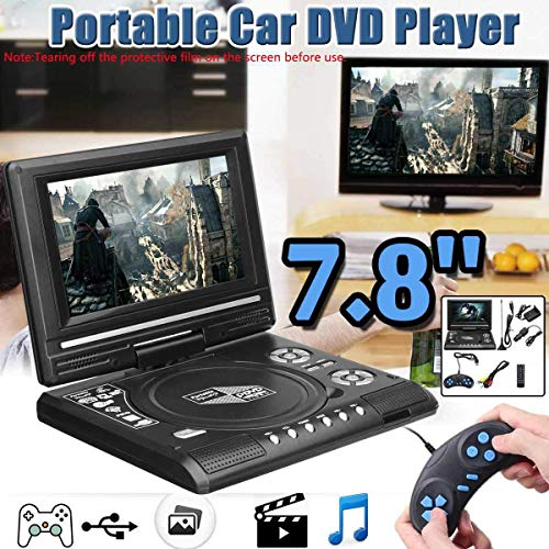 Review 7.8 Inch Portable HD TV Home Car DVD Player, 16:9 Rotate LCD Screen VCD CD MP3 DVD Player USB...