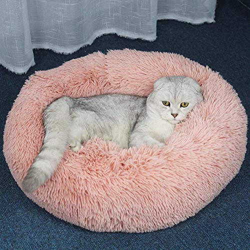 YLCJ Lange pluche slot Zacht hondenbed Ronde hond Kat Winter Sterke Puppy Kussen Draagbare mat voor betere slaap Machine-wasbare Waterbestendige bodem met stijf ademend katoen voor katten, L, roze