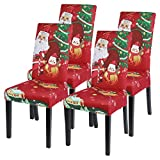 Vertvie Xmas weihnachtlich Stuhlhussen 4er/6er Set Weihnachten Strech Stuhlbezug Moderne Husse Dekoration Stuhlüberzug Stuhl Universal Passform für Esszimmer Party Banquet (Typ 1, 4er Set)