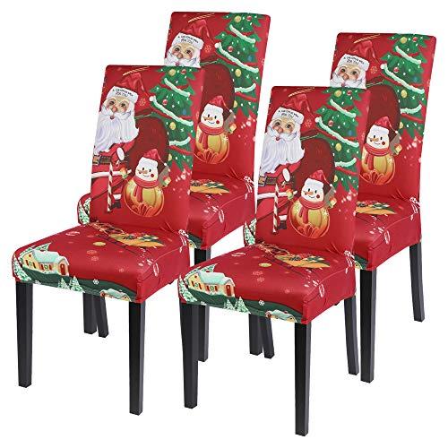 Vertvie Xmas weihnachtlich Stuhlhussen 4er/6er Set Weihnachten Strech Stuhlbezug Moderne Husse Dekoration Stuhlüberzug Stuhl Universal Passform für Esszimmer Party Banquet