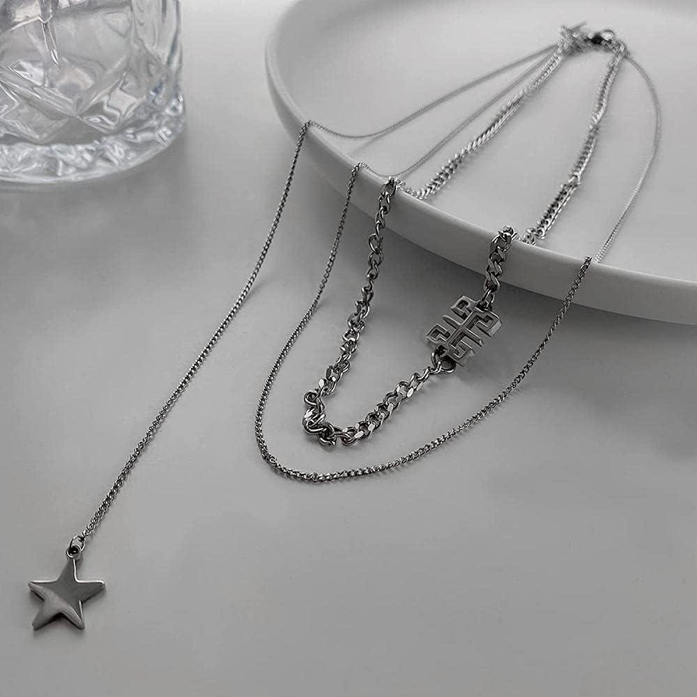 LJQJYFC NecklaceRetro PendantNecklace Titanium SteelMultilayerKeyChainEuropean and American Style