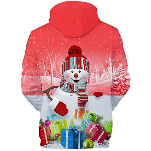 Komise Weihnachtsmode Frauen 3D Weihnachtsdruck Party Langarm Kapuzenpulli