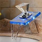 Homelava LED Waschtischarmatur Bad Wasserfall Badezimmer Waschbecken Armaturen(Glas-Griff)