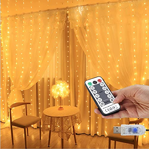 Curtain Lights String, Juhefa 7.9x5.9Ft Twinkle Lights with Remote for Bedroom/Wedding/Wall Decor, Classic 8 Modes & IP64 Waterproof Hanging Fairy Lights,Warm White