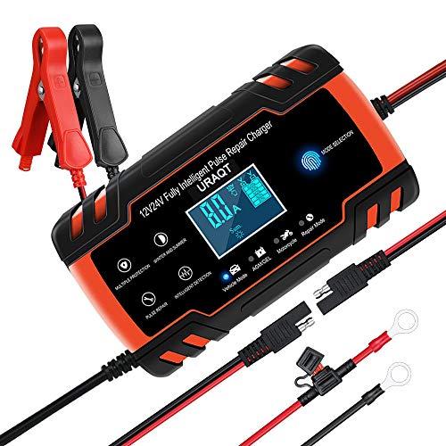 URAQT Chargeurs de Batterie pour Auto 8A 12V/24V, Chargeurs Batterie pour Moto, Affichage LCD,...