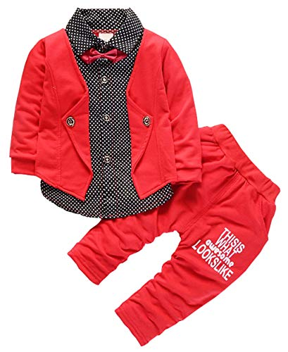 Baby Boys Clothing Set Infant Formal Suits Long Sleeve Children Flower T Shirt Pants Kids Toddler Tops Outfits (Red, 6-12 Months)