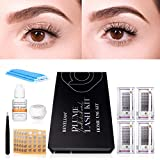 BEYELIAN DIY Lash Extension Kit Plume Individual Cluster Eyelash Extension Kit at Home Use-Pack of 9 pcs with Sensitive Glue Easy to Wear