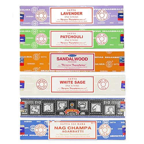 Satya - Bastoncini di incenso assortiti di alta qualità, con bastoncini di incenso Shakti, lavanda, patchouli, sandalo, salvia bianca, Super Hit e Nag Champa