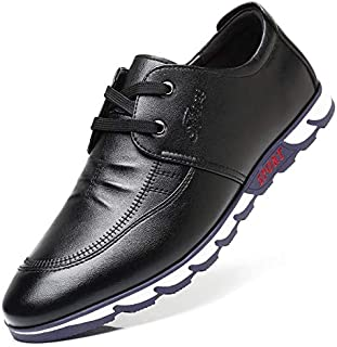 FYKHVF Men's Fashion Round-Toe lace-up Shoes Casual Breathable Height Increased Dress Shoes