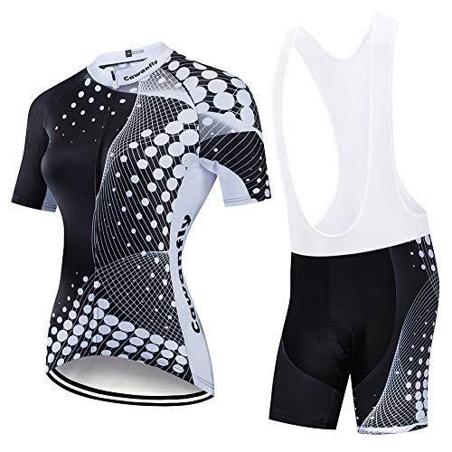 FJLR Ropa De Ciclismo Al Aire Libre Mujeres Bicicleta Costume Deportiva Camisa Manga Corta De Verano + 9D Gel Pantalones Cortos,A,XXL
