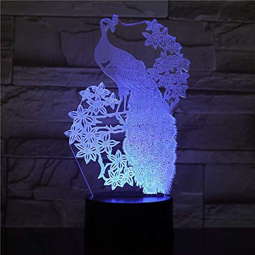 hqhqhq Lámpara de luz Nocturna de Pavo Real Lámpara LED 3D 7 Lámpara de Mesa Colorida para niños Base Negra con Interruptor táctil / 111