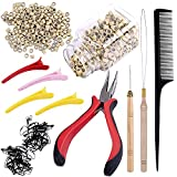 Duufin Kit de Herramientas de Extensión de Cabello 500 Piezas Negro Micro Anillos para Extensiones de Pelo 1 Alicates 2 Agujas Gancho 1 Peine de Cola 4 Pinza Pelo Clip y Goma de Pelo (Rubio)