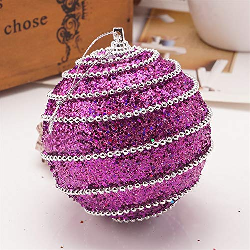 8cm Rhinestone Sequins Christmas Balls Ornaments for Xmas Tree Decor with Hanging Rope,2020 Christmas Decorations Party Decor Lightweight Foam Ball