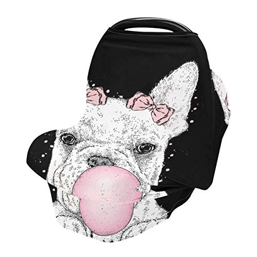 Nursing Cover Breastfeeding Soft Carseat Canopy Cute French Bulldog Multi Use for Baby Car Seat Covers Canopy Shopping Cart Cover Scarf Light Blanket Stroller Cover