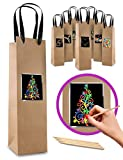 7 Kraft Paper Wine Bottle Gift Bags with Scratch Paper Panel for Customization! Premium Wine Gift Bag Bulk That You can Personalize! Great for Birthday, Christmas, Easter, Housewarming or Wedding!