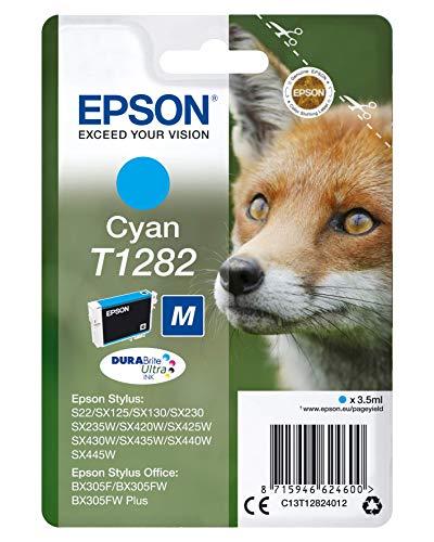 Epson T1282 Serie Volpe, Cartuccia Originale Getto d'Inchiostro DURABrite Ultra, Imballaggio Standard, Ciano, con Amazon Dash Replenishment Ready