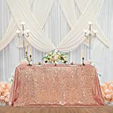 Rose Gold Sequin Tablecloth Sparkly Party-Decorations - Rectangle Tablecloth Table Cover for Kitchen Dinner Birthday Party Wedding Baby Bridal Shower 60x102 Inch