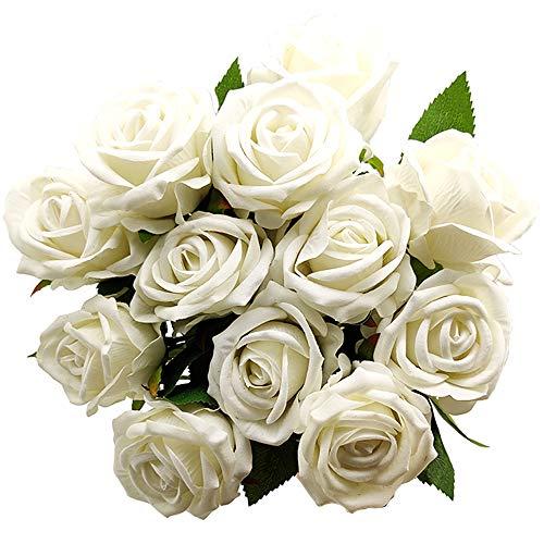 Aisamco 12 Pezzi Artificiali Rosa Fiori di Seta Fiore Bouquet Sposa Rose Artificiali con steli per la Decorazione di Nozze a casa