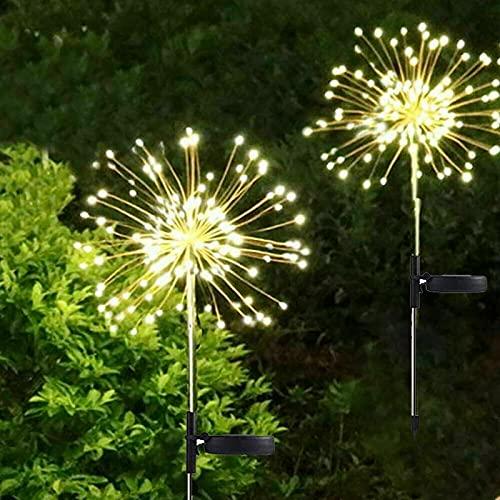 Luces Solares de Fuegos Artificiales, ZVO 2 Unidades 150 LED Luces Hadas...