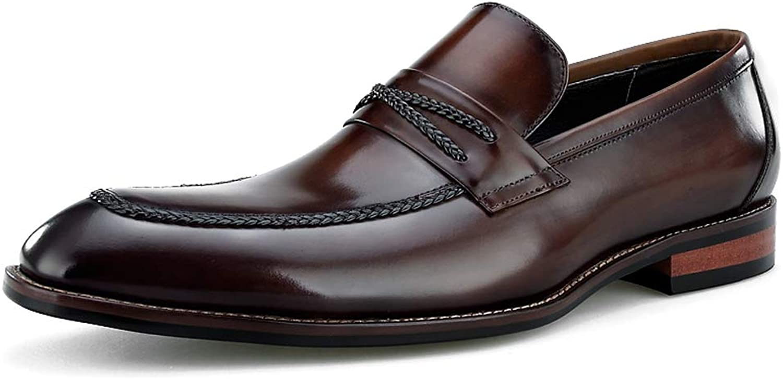 StickSeek Genuine Leather Men's Comfortable Loafers Handmade Formal Dress Slip on shoes