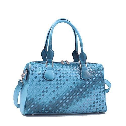 Isabelle Classic Woven Leather Zip Satchel Handbag - Blue