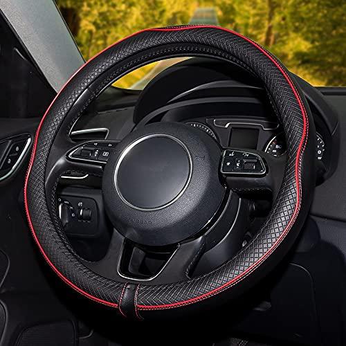 Universal Auto Lenkradhülle Lenkrad Abdeckung Microfiber Leder Lenkradbezug 37-38CM / 15'' Anti Rutsch Lenkradabdeckung Lenkradschoner (Rot)