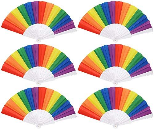 6 abanicos plegables de mano arcoíris coloridos decorativos plegables para bailar, cosplay, boda, fiesta, decoración, cocina y hogar