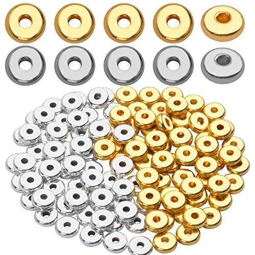 200pcs 8mm Flat Round Rondelle Spacer Beads Disc Spacers Loose Beads Jewelry Metal Spacers for DIY Bracelet Necklace Crafts,Gold & Silver