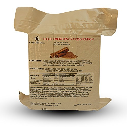 S.O.S. Rations Emergency 3600 Calorie Food Bar - 3 Day / 72 Hour Package with 5 Year Shelf Life Net wt. 1.60lbs (756g) (Cinnamon Full Case)