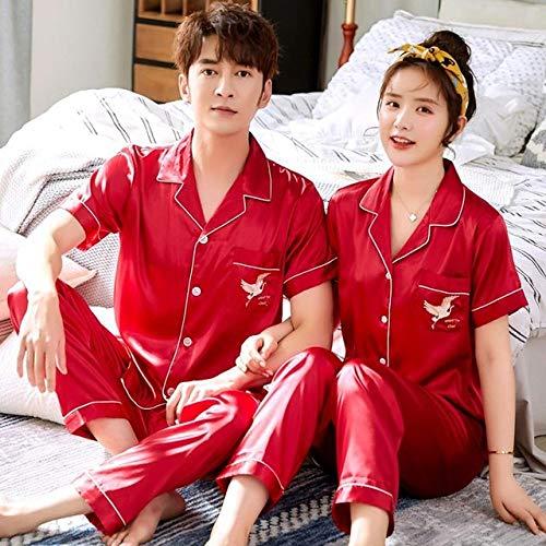 JFCDB Zomer pyjama,2 STUKS Pyjama Pak Dames Nachtkleding Intieme Lingerie Zomer Nieuw Casual Slaap Set Casual Nachtkleding Huiskleding, Dames Rood, 3XL