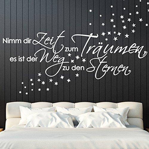 Grandora Wandtattoo Spruch Nimm dir Zeit zum Träumen + Sterne I weiß (BxH) 135 x 41 cm I Schlafzimmer Sticker Aufkleber Wandaufkleber Wandsticker W5119