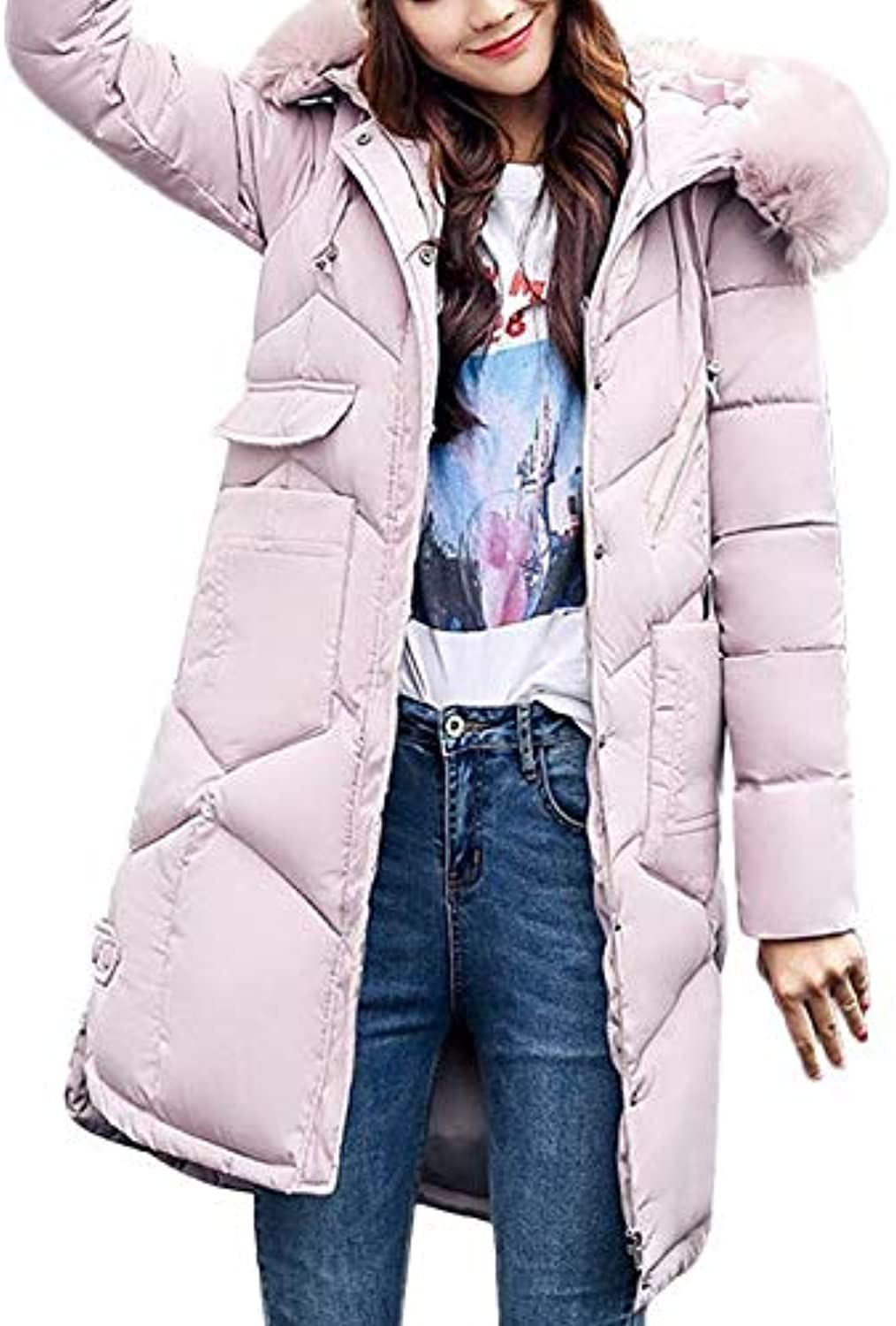 Women Outerwear Winter Snow Keep Warm Casual Daily Leisure Pink Tunic Wild Zipper Fur Hooded Coat Long Cotton Padded Jacket Pocket Coats with Hat (color   red, Size   3XL)