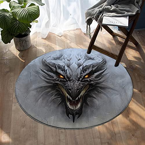 fgjorics Dragon Tapis Rond Fibre De Polyester 3D Décoration De La Maison Tapis Chambre Salon Coussin Antidérapant Chaise Coussin Diameter80 Épaissie