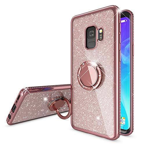 NALIA Ring Hülle kompatibel mit Samsung Galaxy S9, Glitzer Handyhülle Ultra-Slim Silikon Hülle Back-Cover mit 360-Grad Fingerhalterung, Schutzhülle Glitter Handy-Tasche Bumper Etui, Farbe:Rose Gold